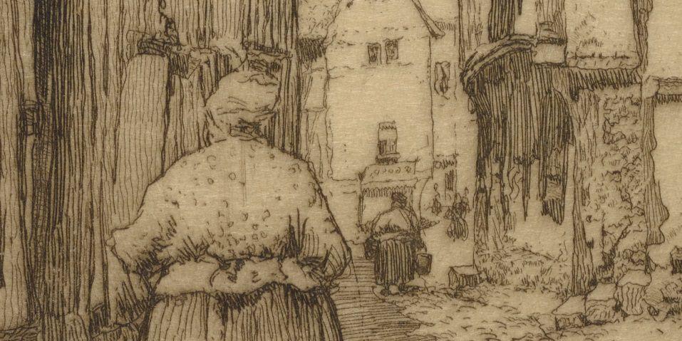 Rue Haute, détails de l'œuvre et carte postale illustrée des années 1910.