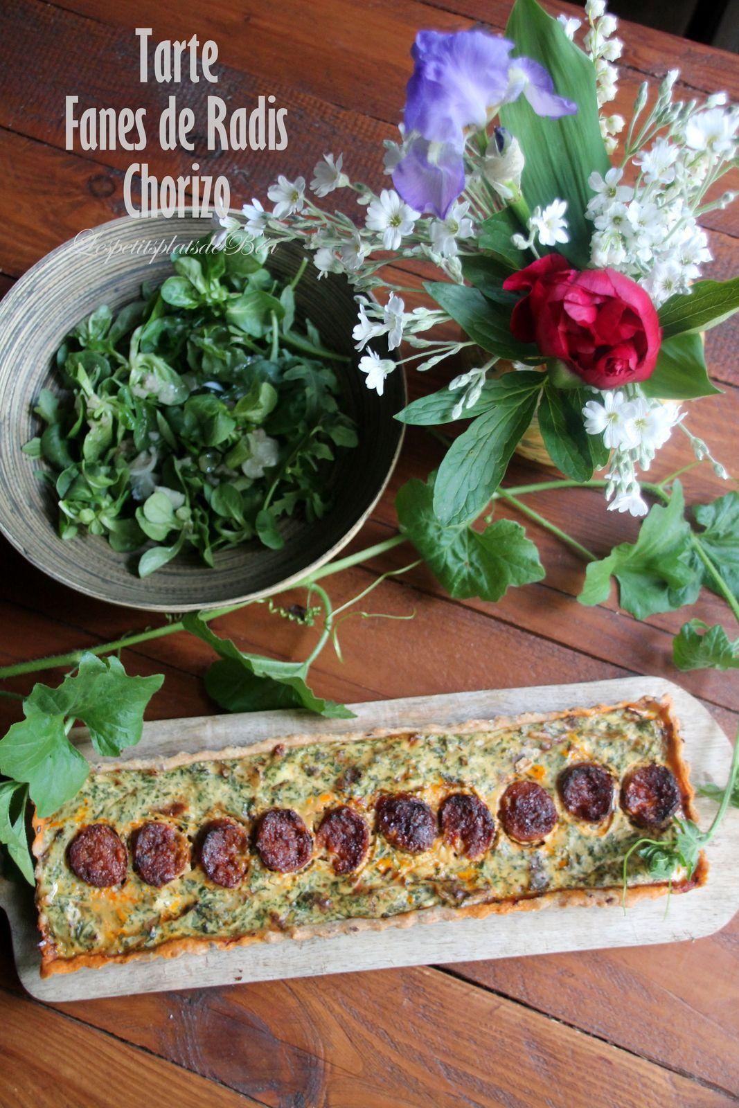 Tarte aux fanes de radis et chorizo