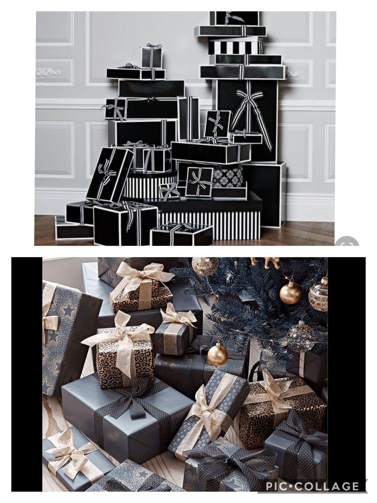 Pour vos paquets, misez sur le noir et blanc, et de beaux rubans (photos source pinterest)