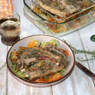 Côtelettes d'agneau au thym et ses petits légumes