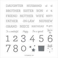 149379 Family Party Besoin d'une image pour féliciter le mari de la nièce de votre belle-sœur pour son 43e anniversaire ? Le set de tampons Family Party vous permet de créer toutes les combinaisons de souhaits possibles pour la famille ! Stampin up