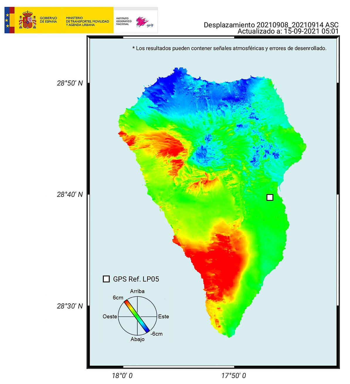La Palma - location of earthquakes according to dates and deformation on 15.09.2021 - Doc. IGNes