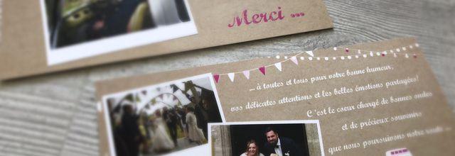 La carte de remerciements d'Hélène & Antoine ... assortie à leur faire part de mariage