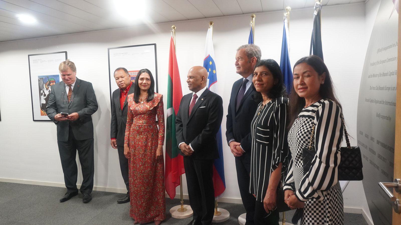 Copyright hafidabenyacoub : Ambassador and his wife, Ms. Mariyam Seena - Counsellor  Ms. Fathimath Reena - First Secretary  Ms. Nektaria Margaroni - European and Commercial Affairs Consultant