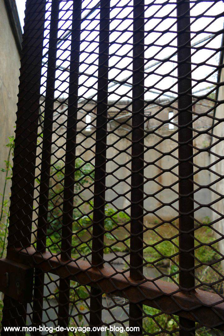 Les différents espaces de promenade de la prison, étroits, envahis par la végétation et sans perspective sur l'extérieur (septembre 2019, images personnelles)