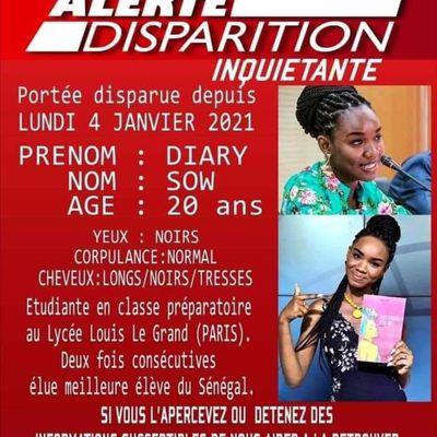 Paris:La meilleure élève du Sénégal deux ans consécutifs disparaît en France depuis lundi 04 janvier 2021