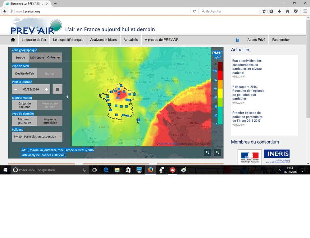 Prev'Air : Pollution aux pm10 sur l'Europe du 1er au 10 décembre 2016