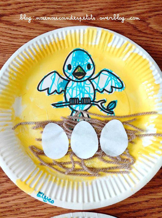 .. Bricolage enfant nid d'oiseau assiette en carton ..