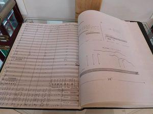 """Une partition éditée de Robert Bichet : """"Parcours Secret derrière Orion"""" (version musicale , pour 7 saxophones), puis les partitions manuscrites de """"Berry, Terre d'Inspiration"""" et de """"Corps et Âme"""".."""