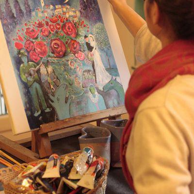 Philippine et Chagal, peinture à l'huile miscible à l'eau