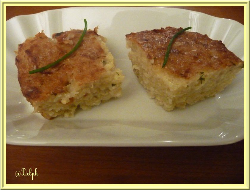 Gâteau aux pommes de terre et oignons.