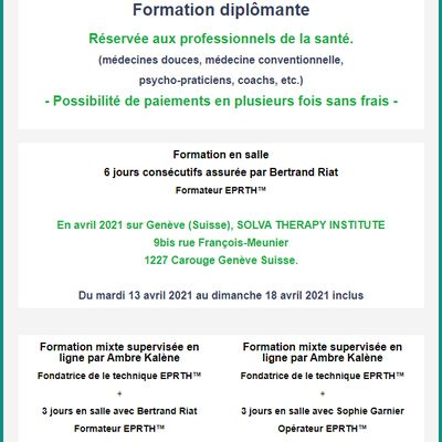 Formations en EPRTH™ 2021