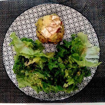 Ecrasé de pomme de terre aux lardons et camembert chaud