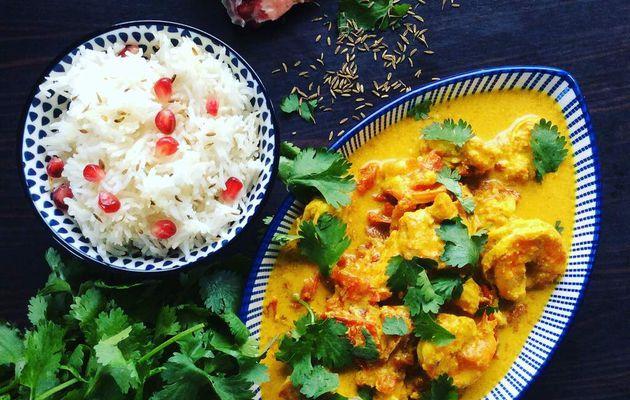 crevettes à l'indienne et riz basmati au cumin