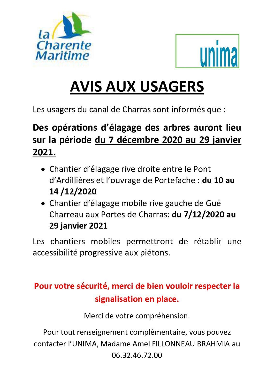 AVIS AUX USAGERS DU CANAL DE CHARRAS