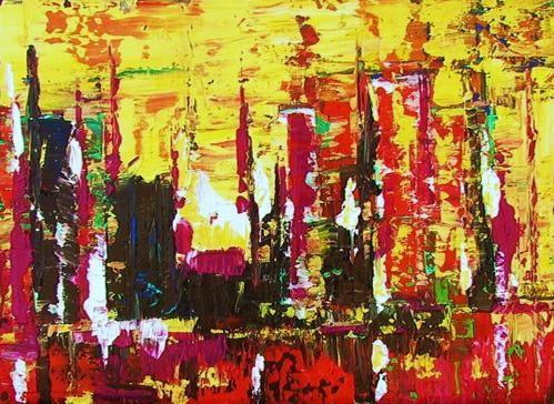 """Peinture acrylique abstraite. Essai. """"L'art est un jeu d'enfant"""". Max Ernst."""