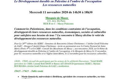 SERIC 2020, 11 novembre, 91300, Massy-Palaiseau : Le développement durable en Palestine à l'ombre de l'occupation, les ressources naturelles