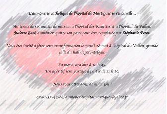 PASSAGE DE RELAIS À L'AUMÔNERIE DE L'HÔPITAL DE MARTIGUES