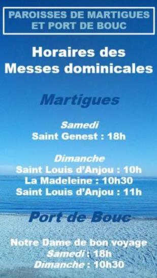 HORAIRES DES MESSES DOMINICALES