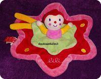 Doudou Lili Babynat Katherine Roumanoff, rouge rose vert, www.doudoupeluche.fr