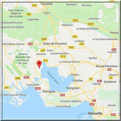 Bouches du Rhône - Istres - Position église sur carte