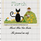 Happiness is Cross Stitching : March Mini Cat pattern released and February Valentine Cat finished