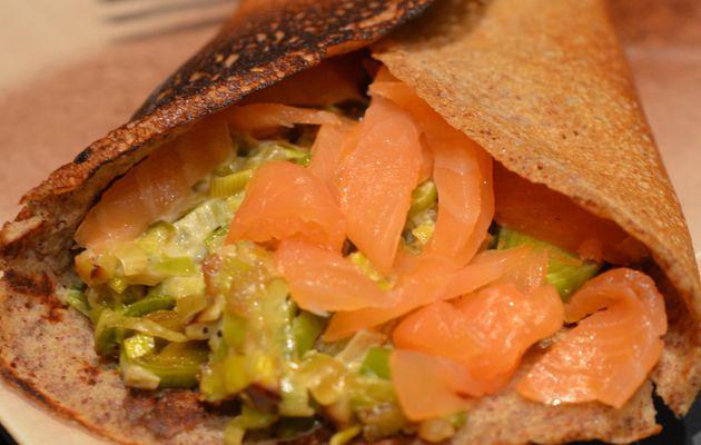 Galette saumon fumé et fondue de poireaux