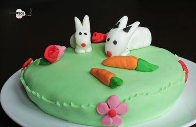 Gâteau petits lapins en pâte à sucre