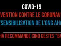Sensibilisation contre le Coronavirus initiée par l'ONG Action Humanitaire Africaine (AHA)