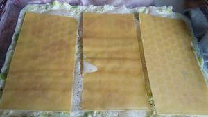 lasagnes cabillaud,lardons, courgettes ,sur un lit de poireaux,aux 3 fromages
