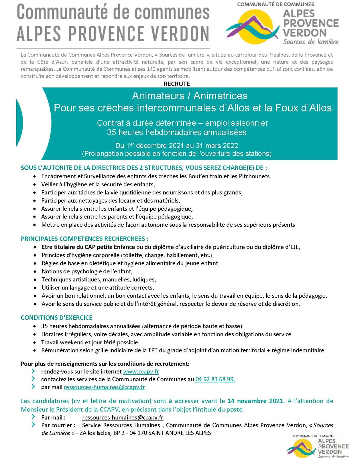 Offres emplois : Agents d'animation CDD Val d'Allos