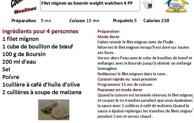 Recettes cookeo- filet mignon au Boursin weight watchers