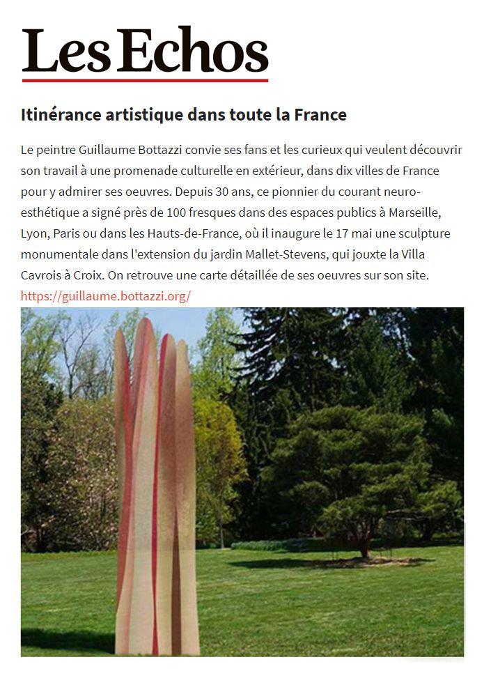 Journal Les Echos : Itinérance artistique de Guillaume Bottazzi dans toute la France