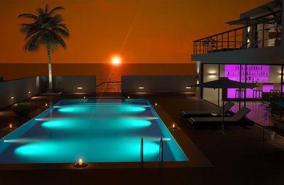 Piscine - Coucher de soleil - Palmier - Villa - Wallpaper - Free