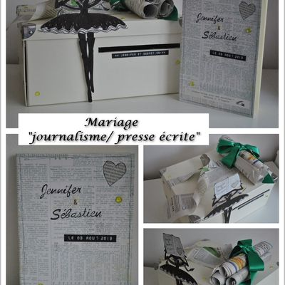 Urne et livre d'or de mariage, thème journalisme/ presse écrite