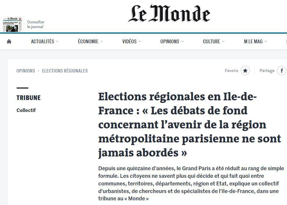 Élections régionales en Île-de-France: ne pas rater une nouvelle fois l'occasion ! Publié sur Le Monde.fr dimanche 25 avril.