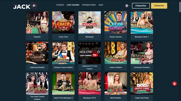 Jack 21 - casino en ligne live