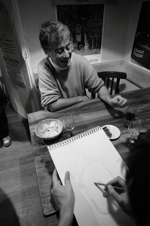 lors d'une soirée caricatures avec Jonathan en croqueur