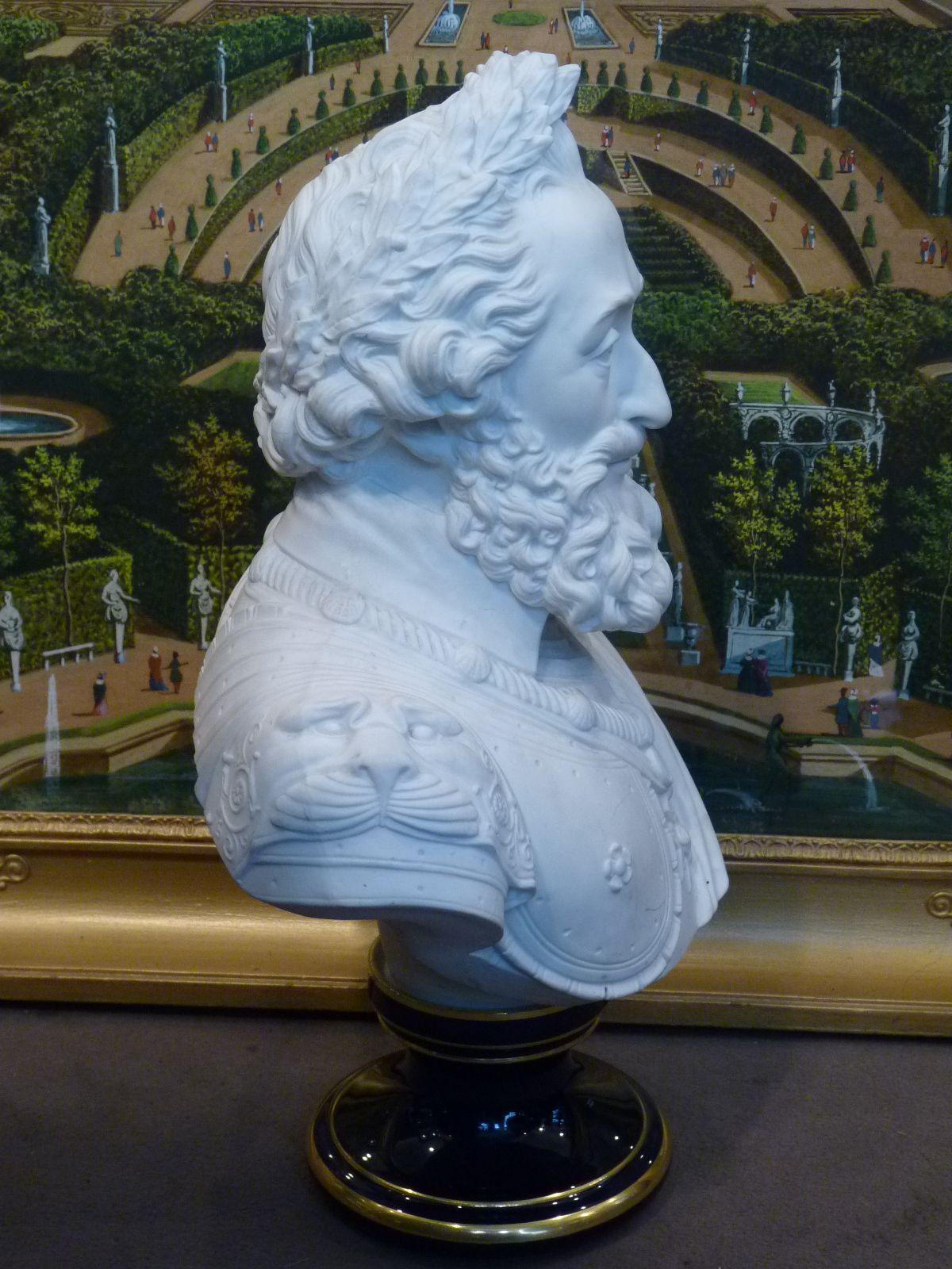 Buste d'Henri IV, Biscuit de Porcelaine de Sèvres, par Jean Charles Nicolas Brachard, Epoque Restauration