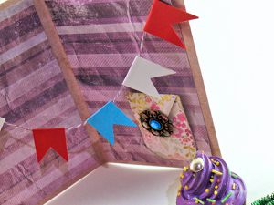 Carte - 14 Juillet - Fête Nationale - Confetti - Feu d'artifice - Banderole - Strass - Pochette