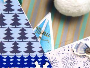 Menu - Porte Nom - Noël - Friandise - Etoile - Sapins - Strass - Stickers - Fait Main - Fait Maison - Cadeau