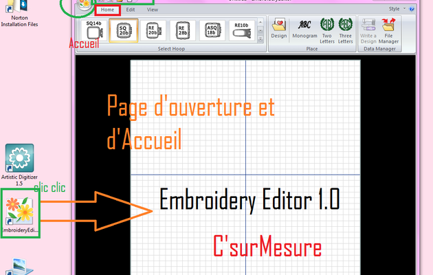 3 : Ouverture d' Embroidery Editor 1.0, pour brodeuse 500E.