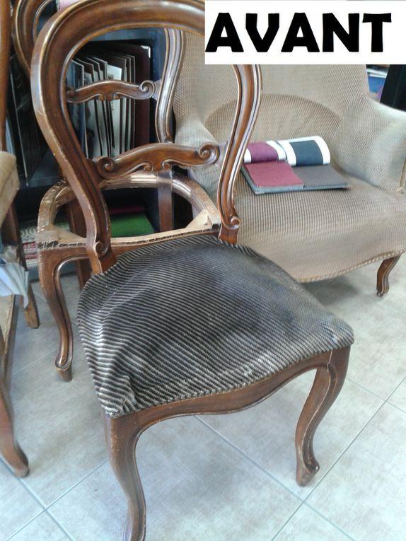 réfection compète chaise Louis Philippe ARABESQUE La decoration sur mesure THIERS Puy de Dome 63 TAPISSIER DECORATEUR fauteuil rideaux stores tissus
