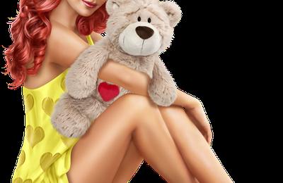 Femme - Rousse - Sexy - Ourson - Render/Tube - Gratuit