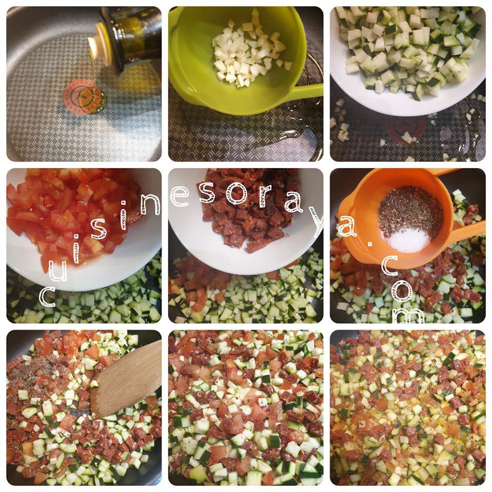 Crumble salé à la courgette, tomate et chorizo