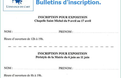Expositions d'Avril et Juin 2016 à Avignon - Bulletins d'inscription !