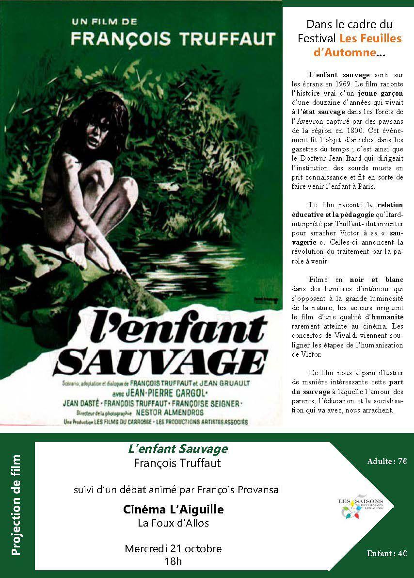 """Affiche Le film de François Truffaut """"l'Enfant Sauvage"""" 21 octobre cinéma l'aiguille Allos 18 h"""