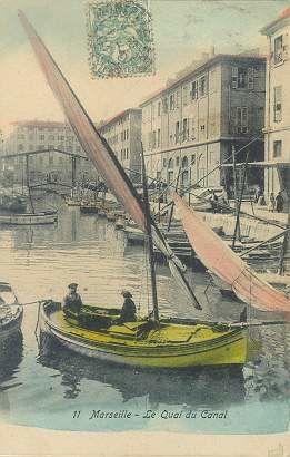 Photos d'embracations à voile latine à l'époque de leur utilisation quotidienne comme outil de travail des petits mériers de la mer. Pécheurs et gens de mer des côtes provençales.