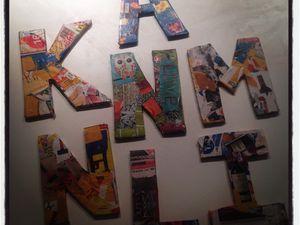 """""""tout en lettres"""" en peinture, alphabet réinventé, collage, mosaïque de millefiori"""