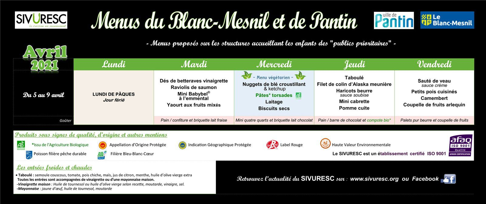 Informations menus